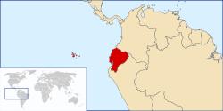 Emplacement de l'Equateur entre la Colombie et le Pérou.