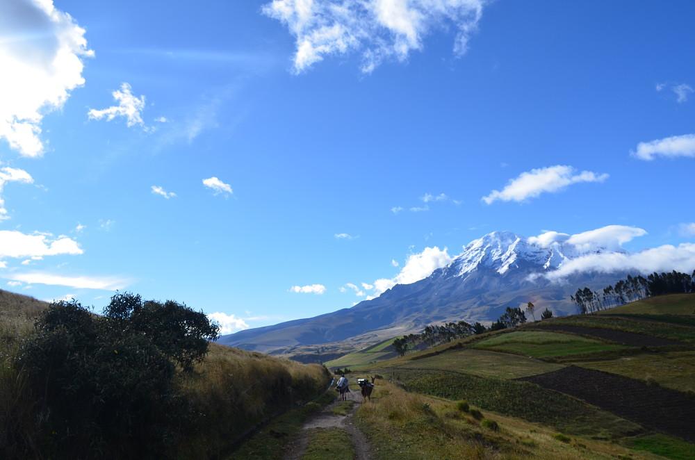 Très belle vue sur le Chimborazo depuis le chemin des crêtes.