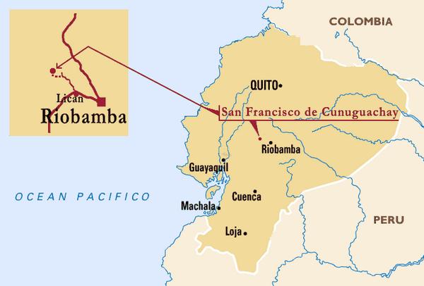 Carte permettant de situer Riobamba en Equateur.